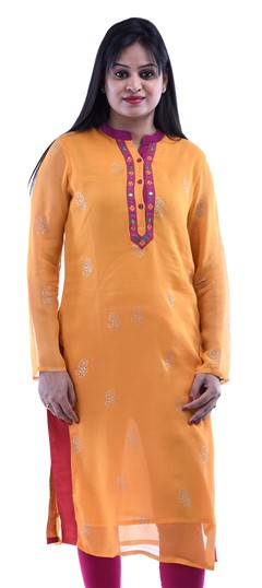 432719 Yellow  color family Cotton Kurtis in Cotton fabric with Lace,Printed,Thread work .