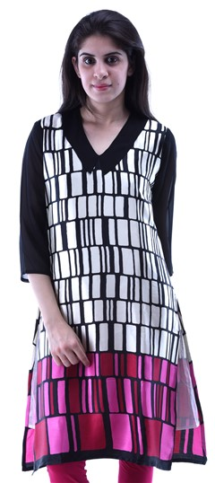 432925 Black and Grey,White and Off White  color family Kurti in Cotton fabric with Printed work .
