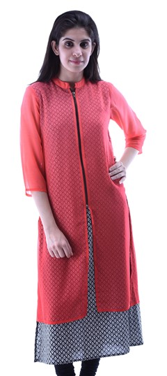 432927 Red and Maroon  color family Kurti in Cotton,Georgette fabric with Printed work .