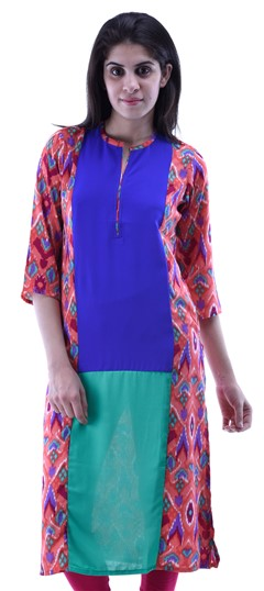432929 Blue,Pink and Majenta  color family Kurti in Cotton fabric with Printed work .