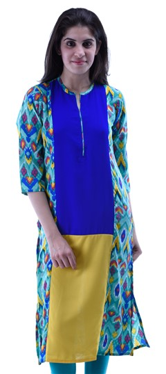 432930 Blue,Green,Yellow  color family Kurti in Cotton fabric with Printed work .