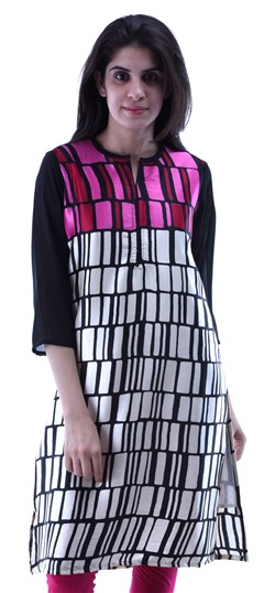 432931 Black and Grey,White and Off White  color family Kurti in Cotton fabric with Printed work .