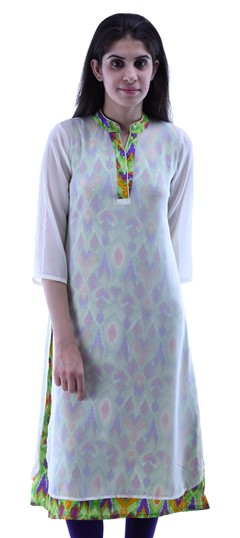 432937 Green  color family Kurti in Cotton,Georgette fabric with Printed work .