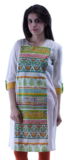 432941 Green,White and Off White  color family Kurti in Cotton fabric with Printed work .