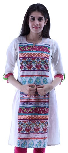 432942 Pink and Majenta,White and Off White  color family Kurti in Cotton fabric with Printed work .