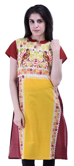432948 Red and Maroon,Yellow  color family Kurti in Cotton fabric with Printed work .