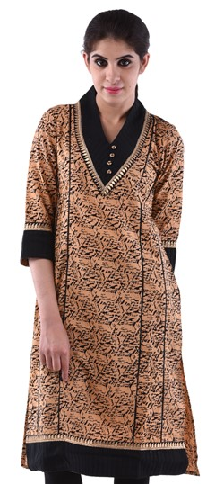 432956, Printed Kurtis, Cotton Kurtis, Cotton, Machine Embroidery, Printed, Beige and Brown Color Family