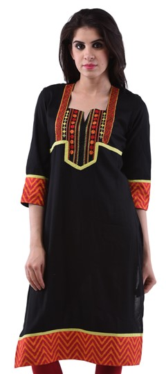 432957, Printed Kurtis, Cotton Kurtis, Cotton, Thread, Lace, Machine Embroidery, Black and Grey Color Family