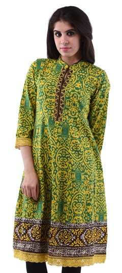 432963 Green  color family Anarkali style Kurtis,Cotton Kurtis in Cotton fabric with Lace,Printed,Thread work .