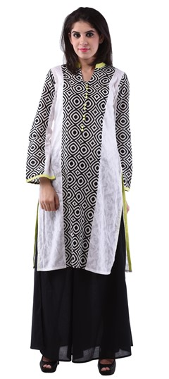 432966, Printed Kurtis, Cotton Kurtis, Cotton, Printed, Black and Grey, White and Off White Color Family