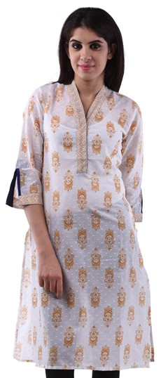 432970 White and Off White  color family Cotton Kurtis,Printed Kurtis in Cotton fabric with Printed work .