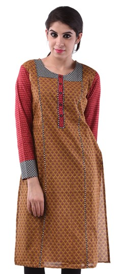 432971, Printed Kurtis, Cotton Kurtis, Cotton, Lace, Printed, Beige and Brown Color Family