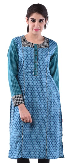 432972 Blue  color family Cotton Kurtis,Printed Kurtis in Cotton fabric with Lace,Printed work .