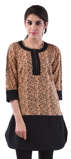 432982 Beige and Brown  color family Cotton Kurtis,Printed Kurtis in Cotton fabric with Printed work .