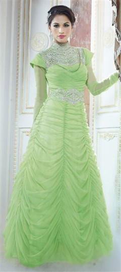 433240 Green  color family gown in Georgette,Viscose fabric with Patch,Stone work .