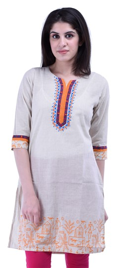 434258 White and Off White  color family Cotton Kurtis,Printed Kurtis in Cotton fabric with Printed work .