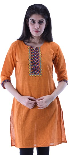 434260 Orange  color family Cotton Kurtis,Printed Kurtis in Cotton fabric with Thread work .