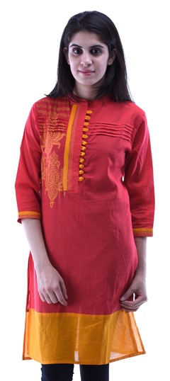 434261 Red and Maroon  color family Cotton Kurtis,Printed Kurtis in Cotton fabric with Lace,Printed work .