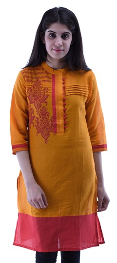 434262 Orange  color family Cotton Kurtis,Printed Kurtis in Cotton fabric with Lace,Printed work .
