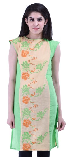 434263 Green  color family Cotton Kurtis,Printed Kurtis in Cotton fabric with Printed work .
