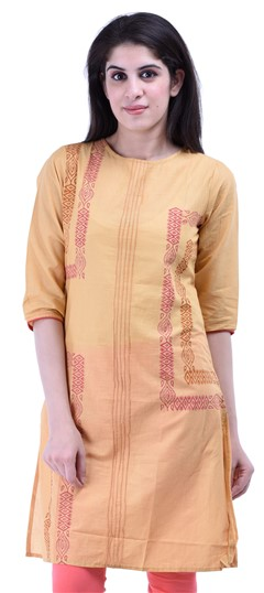 434271 Beige and Brown  color family Cotton Kurtis,Printed Kurtis in Cotton fabric with Printed work .