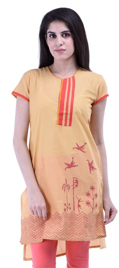 434273 Beige and Brown  color family Cotton Kurtis,Printed Kurtis in Cotton fabric with Printed work .