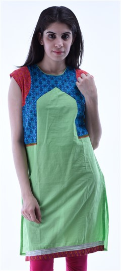 434275 Blue,Green  color family Cotton Kurtis,Printed Kurtis in Cotton fabric with Printed work .