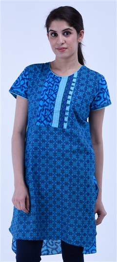 434278 Blue  color family Cotton Kurtis,Printed Kurtis in Cotton fabric with Printed work .
