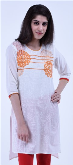 434287 White and Off White  color family Cotton Kurtis,Printed Kurtis in Cotton fabric with Printed work .