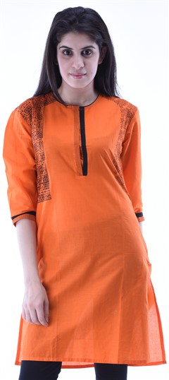 434290 Orange  color family Cotton Kurtis,Printed Kurtis in Cotton fabric with Printed work .