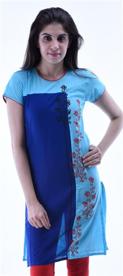 434293 Blue  color family Cotton Kurtis,Printed Kurtis in Cotton fabric with Printed work .