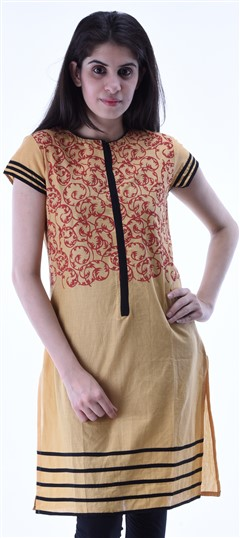 434296 Beige and Brown  color family Cotton Kurtis,Printed Kurtis in Cotton fabric with Printed work .