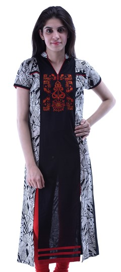 434321 Black and Grey  color family Cotton Kurtis,Printed Kurtis in Cotton fabric with Printed work .
