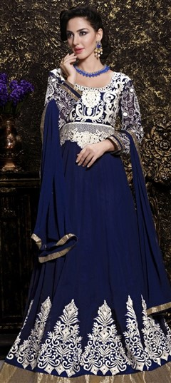 434579 Blue  color family Anarkali Suits in Faux Georgette fabric with Machine Embroidery,Resham,Thread work .