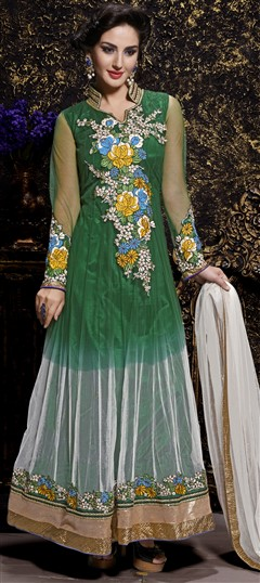 434581 Green  color family Anarkali Suits in Net fabric with Machine Embroidery,Resham,Stone,Thread work .