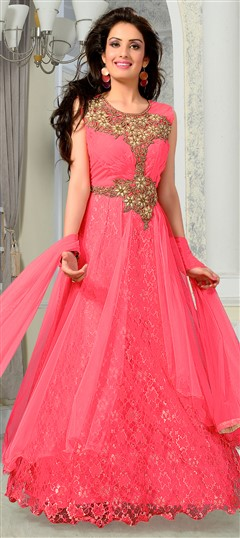 435979 Pink and Majenta  color family gown in Net fabric with Lace,Stone,Thread work .