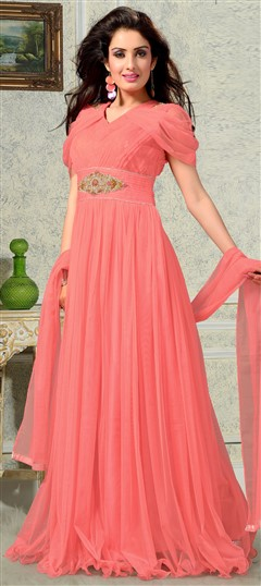 435984 Pink and Majenta  color family gown in Net fabric with Patch,Stone work .