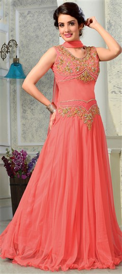 435986 Pink and Majenta  color family gown in Net fabric with Stone,Thread work .