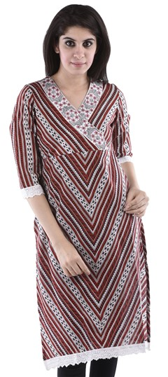 436625 Beige and Brown  color family Cotton Kurtis,Printed Kurtis in Cotton fabric with Lace,Printed work .