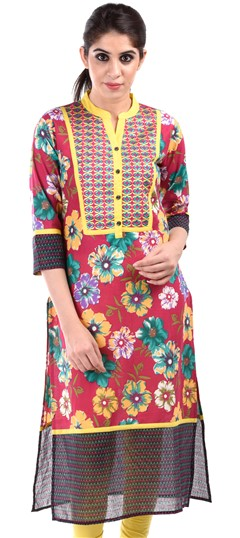 436626 Pink and Majenta  color family Cotton Kurtis,Printed Kurtis in Cotton fabric with Floral,Printed work .