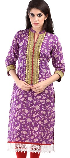436628 Purple and Violet  color family Cotton Kurtis,Printed Kurtis in Cotton fabric with Lace,Printed work .