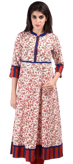 436636 White and Off White  color family Cotton Kurtis,Printed Kurtis in Cotton fabric with Printed work .