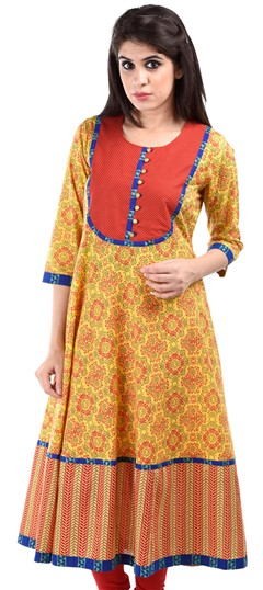 436638 Yellow  color family Cotton Kurtis,Printed Kurtis in Cotton fabric with Printed work .