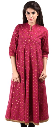 436641 Pink and Majenta  color family Cotton Kurtis,Printed Kurtis in Cotton fabric with Printed work .