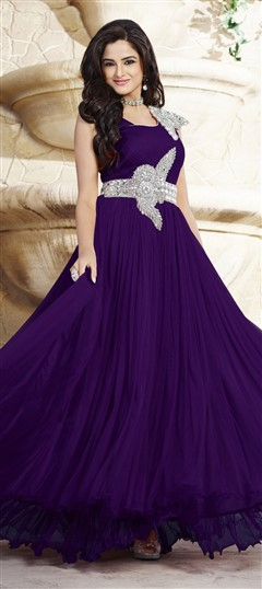 439532 Purple and Violet  color family gown in Net, Satin fabric with Patch, Stone work .
