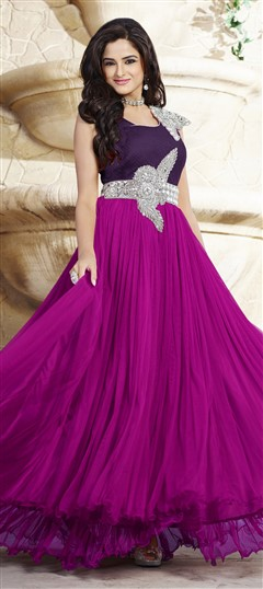 439533 Pink and Majenta, Purple and Violet  color family gown in Net, Satin fabric with Patch, Stone work .