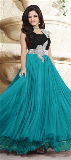 439534 Black and Grey, Blue  color family gown in Net, Satin fabric with Patch, Stone work .