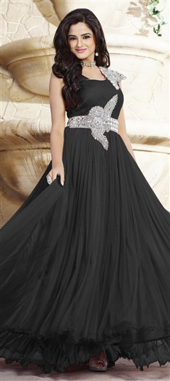 439535 Black and Grey  color family gown in Net, Satin fabric with Patch, Stone work .