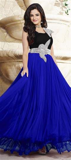439536 Black and Grey, Blue  color family gown in Net, Satin fabric with Patch, Stone work .