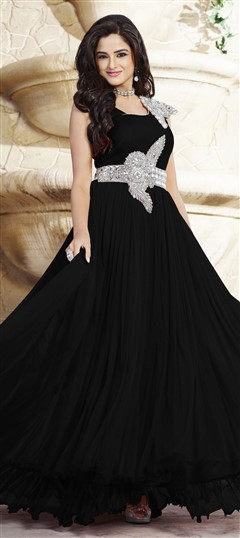 439537 Black and Grey  color family gown in Net, Satin fabric with Patch, Stone work .